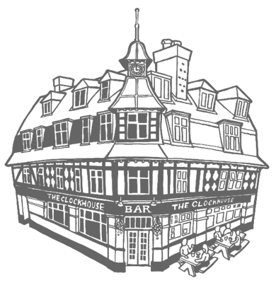 Line illustration of the exterior of the Clockhouse bar in East Preston